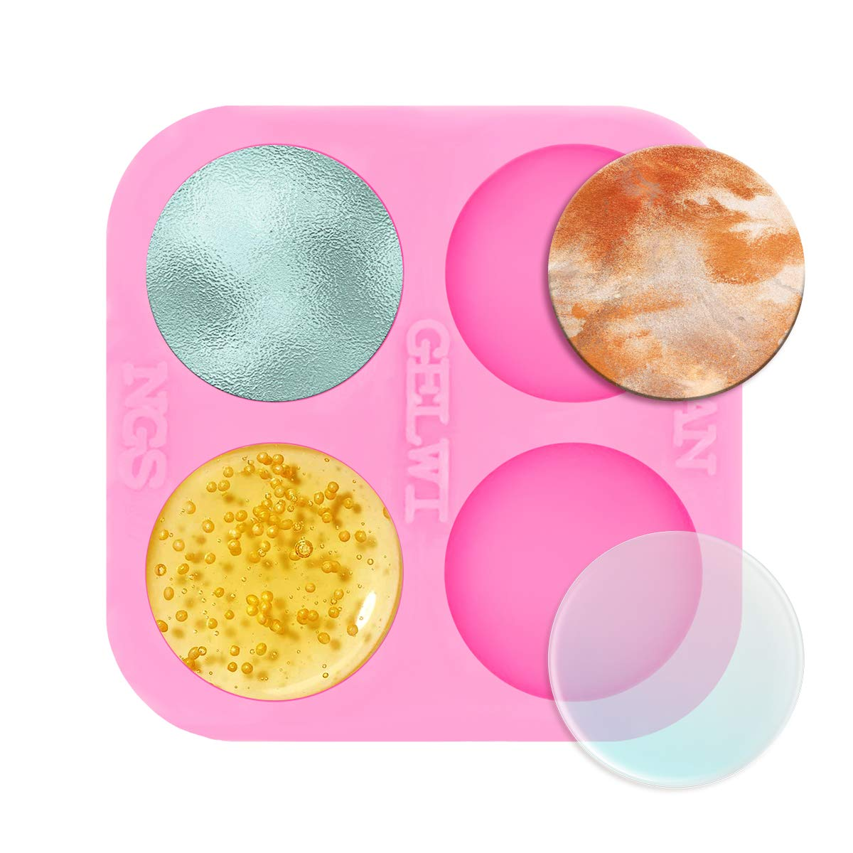 Super Shiny 0.75 inch Silicone Molds Mini Round Resin Mold, 4-Cavity Small Size Circle Epoxy Resin Casting Mold for DIY Badge Reels Mold Earrings Mold Jewelry Making Silicone Mould