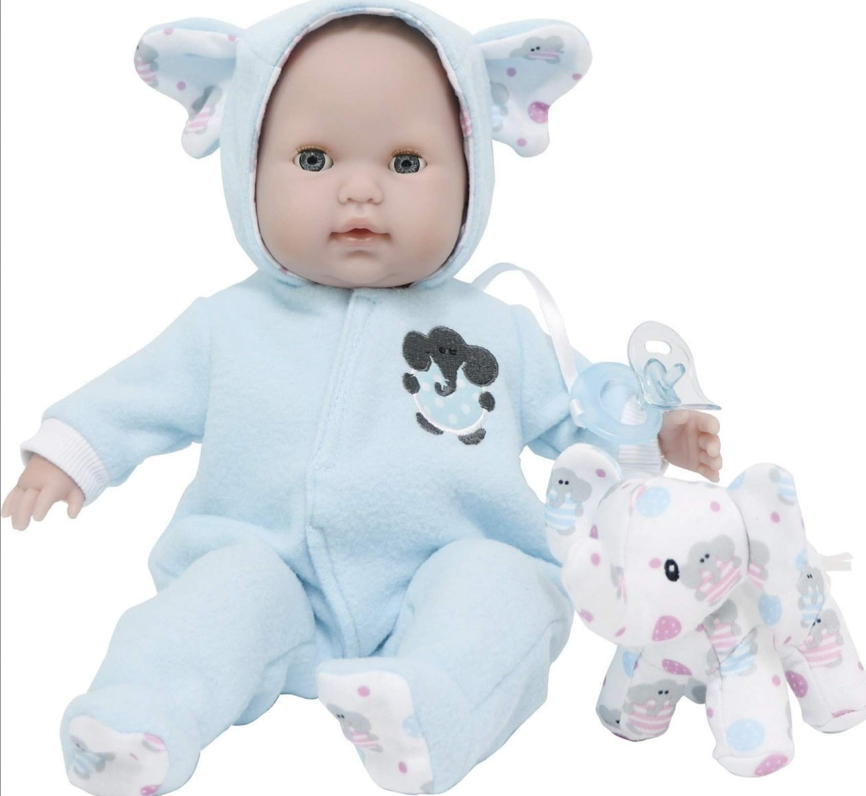 """JC Toys 15"""" Berenguer Boutique Blue Soft Body Baby Doll Open/Close Eyes with Play Elephant Accessory - Perfect for Children 2+"""