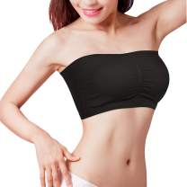 Women's Strapless Bralette Bandeau Sports Push Up Seamless Padded Tube Top Bra