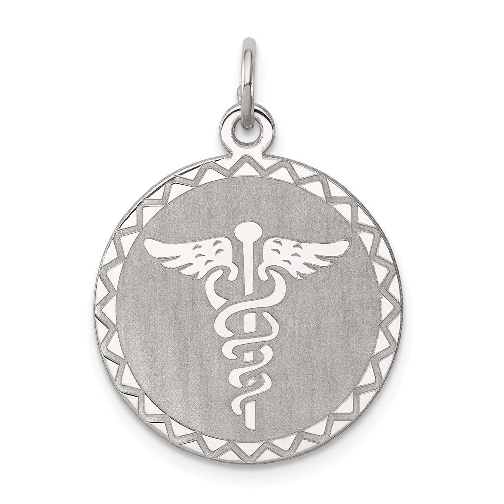 925 Sterling Silver Caduceus Disc Necklace Pendant Charm Career Professional Medical Fine Mothers Day Jewelry For Women Gifts For Her