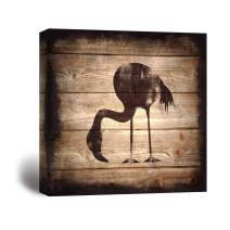 wall26 - Square Canvas Wall Art - Flamingo Silhouette on Rustic Wood Board Texture Background - Giclee Print Gallery Wrap Modern Home Decor Ready to Hang - 24x24 inches