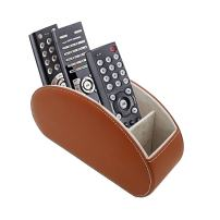 Fosinz Remote Control Holder Organizer Table Desk Leather Control Storage TV Remote Control Organizer with 5 Spacious Compartments (Brown)