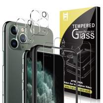 [4 Pack] HATOSHI Tempered Glass for 11 Pro Max (6.5 inch), 2 Pack Tempered Glass Screen Protector, 2 Pack Camera Lens Protector, 1 Easy Installation Frame [HD Clear][Anti-Scratch][Case Friendly]