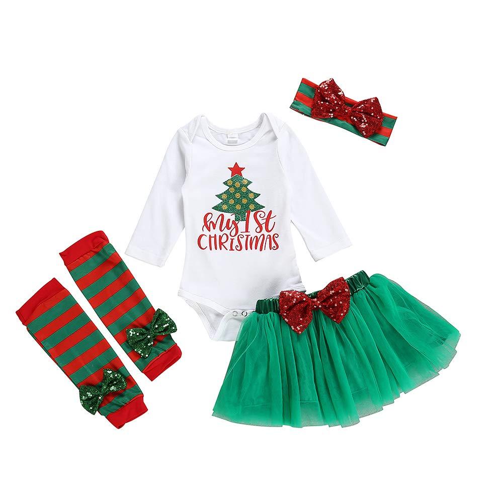 4Pcs Newborn Baby Girl Clothes My 1st Christmas Bodysuit+Dot Tutu Skirt+Leg Warmers+Sequins Bow Headband Outfits Set