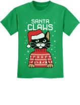 Santa Claws Cat Ugly Christmas Sweater Youth Kids T-Shirt