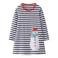 NewZhu Toddler Girls Cotton Dress Long Sleeve Cartoon Print Dresses Kids Baby Girls Casual Party Dress