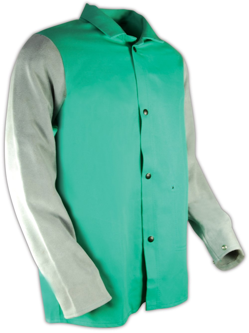 """Magid 1830LSXL SparkGuard Flame Resistant Cotton Standard Weight Jacket with Grey Leather Sleeves, 30"""" Length, XL, Green"""