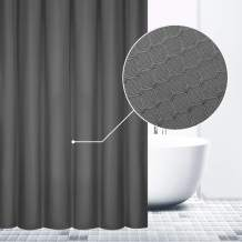 VCVCOO Waterproof Polyester Waffle Weave Shower Curtains Elegant, Weighted Fabric Bath Curtains for Home Hotel Cabin Bathroom(72x72 inch,Dark Grey)