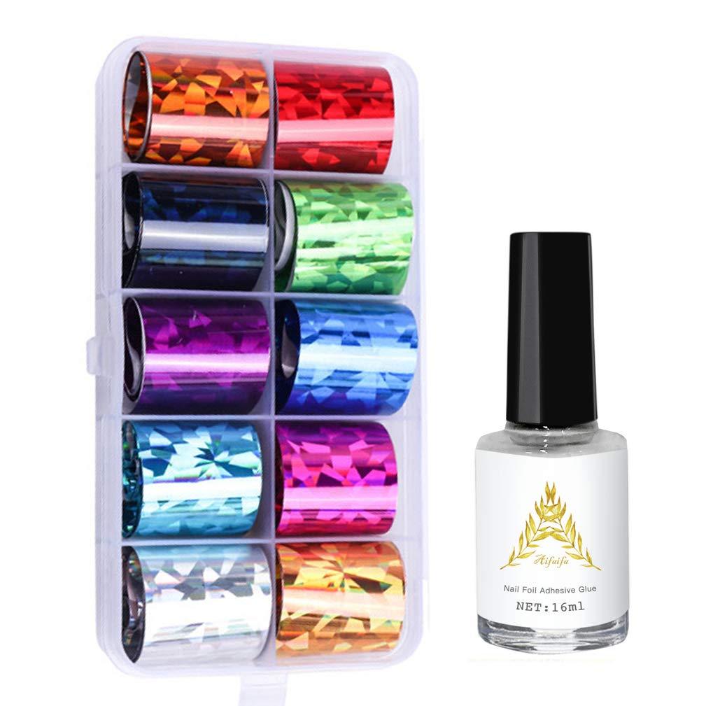 AIFAIFA 10 Rolls Nail Foil Decal, Holographic, Metallic, Nail Foil Wraps Transfer Decals Nail Art DIY Sticker Kit with Nail Glue