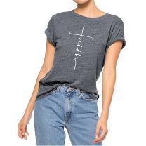 Geicyjiecy Women Casual T Shirt Faith Printed Summer Tees Cotton Short Sleeve Tops