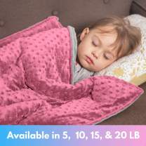 """Roore 5 lb Weighted Blanket for Kids I 36""""x48"""" I Weighted Blanket with Plush Minky Pink Removable Cover I Weighted with Premium Glass Beads I Perfect for Children from 40 to 60 lb"""