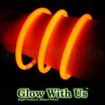 "Glow Sticks Bulk Wholesale Bracelets, 100 8"" Orange Glow Stick Glow Bracelets, Bright Color, Glow 8-12 Hrs, 100 Connectors Included, Glow Party Favors Supplies, Sturdy Packaging, GlowWithUs Brand…"