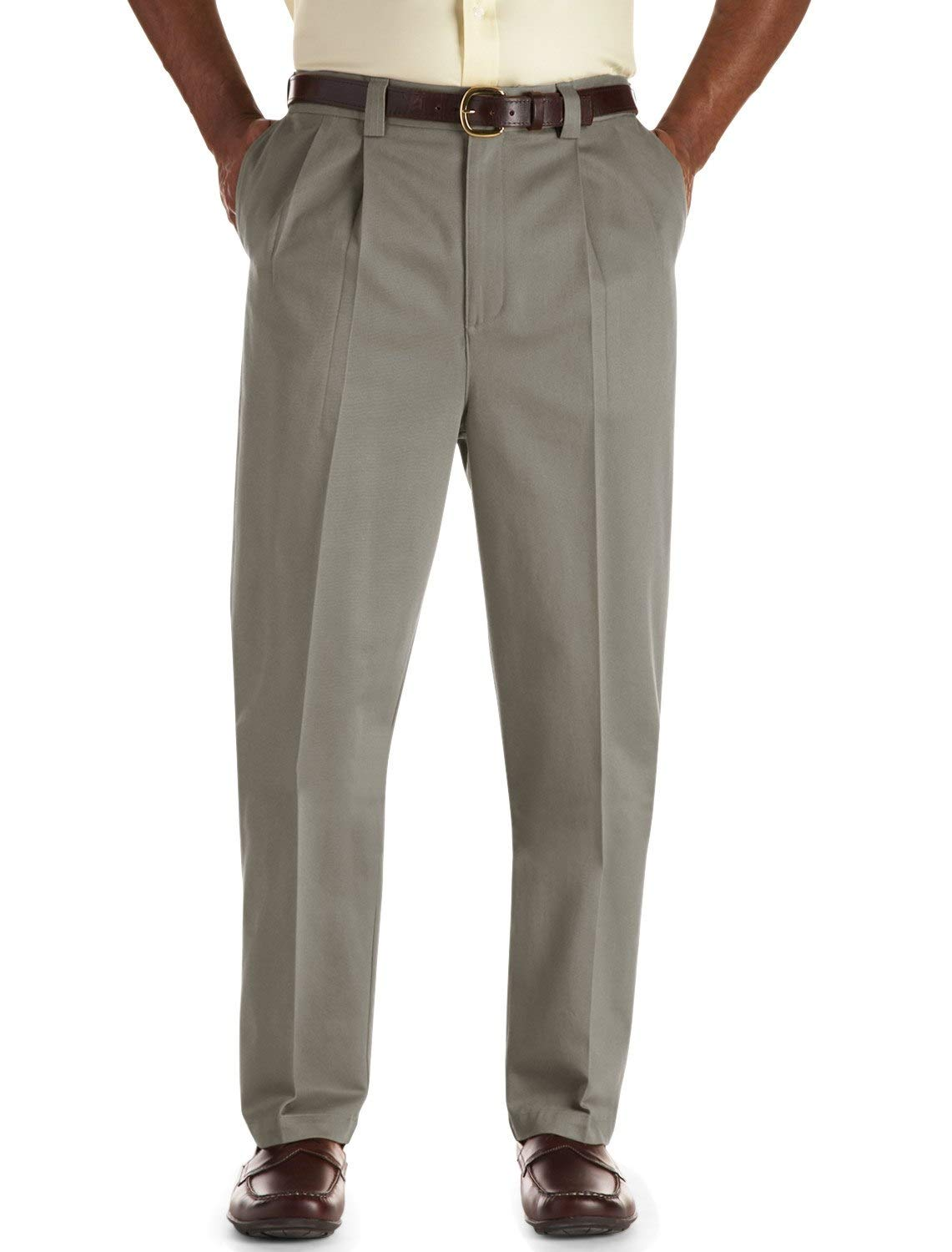 Oak Hill by DXL Big and Tall Pleated Premium Stretch Twill Pants, Olive, 48R 30