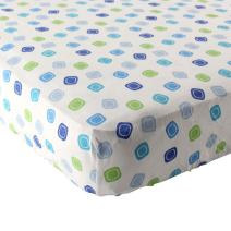 Luvable Friends Unisex Baby Fitted Crib Sheet, Blue Geometric, One Size