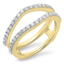 0.50 Carat (ctw) 14K Gold Round Diamond Ladies Wedding Band Enhancer Guard Ring 1/2 CT