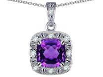 Star K Solid 14k White Gold Cushion-Cut Halo Pendant Necklace