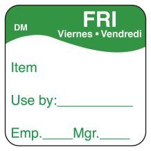 "DayMark DissolveMark Day of the Week Trilingual Dissolvable Label, FRI, Item/Use By/Emp/Mgr, 1"" x 1"", Green (Roll of 500)"