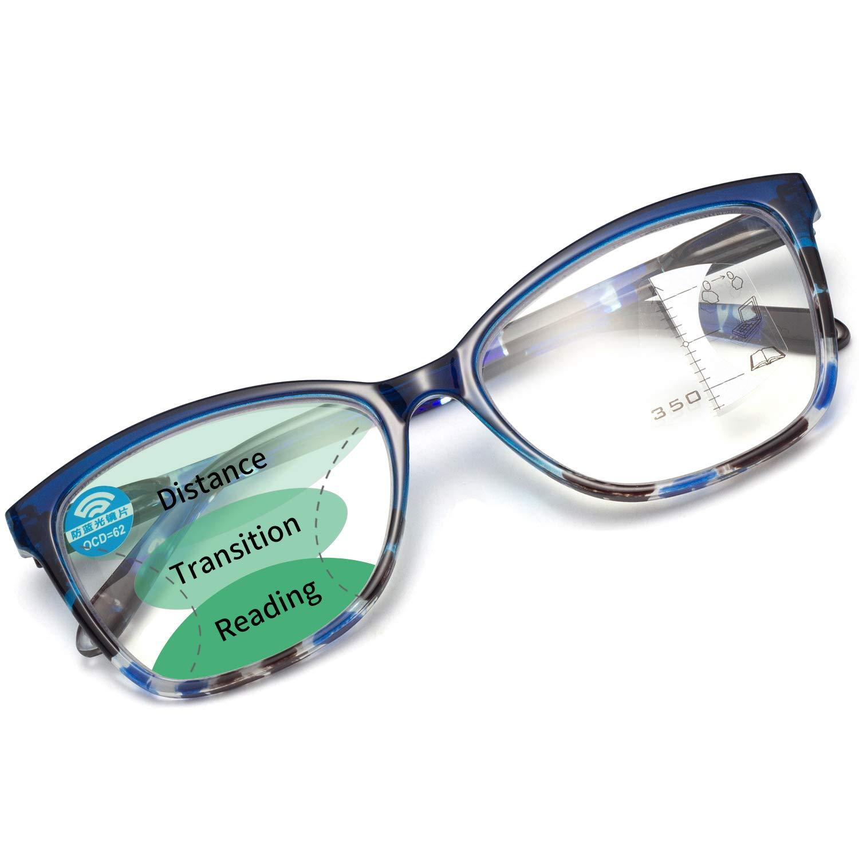 LianSan Square Progressive Computer Reading Glasses with Spring Hinge Men Women