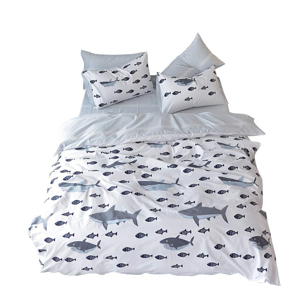 BuLuTu 4 Pieces Ocean Sharks Fish Print Full Bedding Duvet Cover with Fitted Sheet and 2 Pillow Cases,Kids Duvet Cover Set Queen Cotton White Grey for Boys Girls,No Comforter