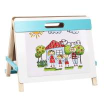 Kids Tabletop Easel 3 in 1 Dry Erase Board Chalkboard with Paper Roll Wooden Art Easel Portable for Children 3+
