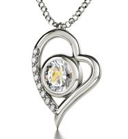 """925 Sterling Silver Sagittarius Heart Necklace Zodiac Pendant for Birthdays 23rd November to 21st December 24k Gold Inscribed with Star Sign and Symbol on Swarovski Crystal Stone, 18"""" Chain"""