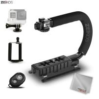 Zeikos Video Action Stabilizing Handle Grip Handheld Stabilizer with Triple 3 Shoe Mount Set, Comes with Bluetooth Remote, Smartphone, and GoPro Mount + Free MiracleFiber Microfiber Cleaning Cloth