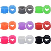 """18pcs Heart Soft Flexible Silicone Ear Plugs Double Flared Expander Flesh Tunnels 6g-1"""""""