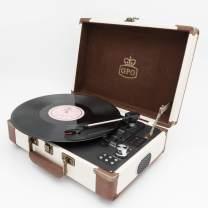 GPO Ambassador Bluetooth Record Player, Retro Vinyl Turntable with Speakers (Cream/Tan)