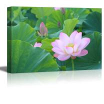 "wall26 - Canvas Prints Wall Art - Blooming Lotus Flower Surrounded by Lotus Leaves | Modern Wall Decor/Home Decoration Stretched Gallery Canvas Wrap Giclee Print. Ready to Hang - 24"" x 36"""