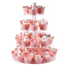 Boxalls Cupcake Stand, 4 Tier Acrylic Dessert Stand Clear Pastry Tree Tower with Round Foot for Wedding Birthday Party Baby Shower (15.7 Inch)