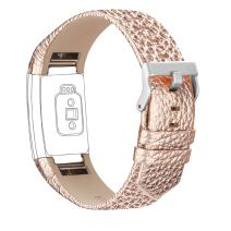 iGK Leather Replacement Bands Compatible for Fitbit Charge 2, Genuine Leather Wristbands Rose Gold