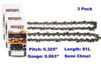20 Inch Chainsaw 0.325'' Pitch 0.063'' Gauge Semi Chisel Sawchain 81 Drive Links (3 PACK)