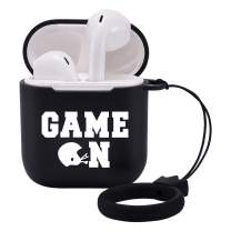 LuGeKe Cases for Airpods 1 and 2 with Keychain,Football Helmet PatternedCasewithProtective Soft TPU,Shockproof Cover for Girls Boys Kids Women Men(Game On)