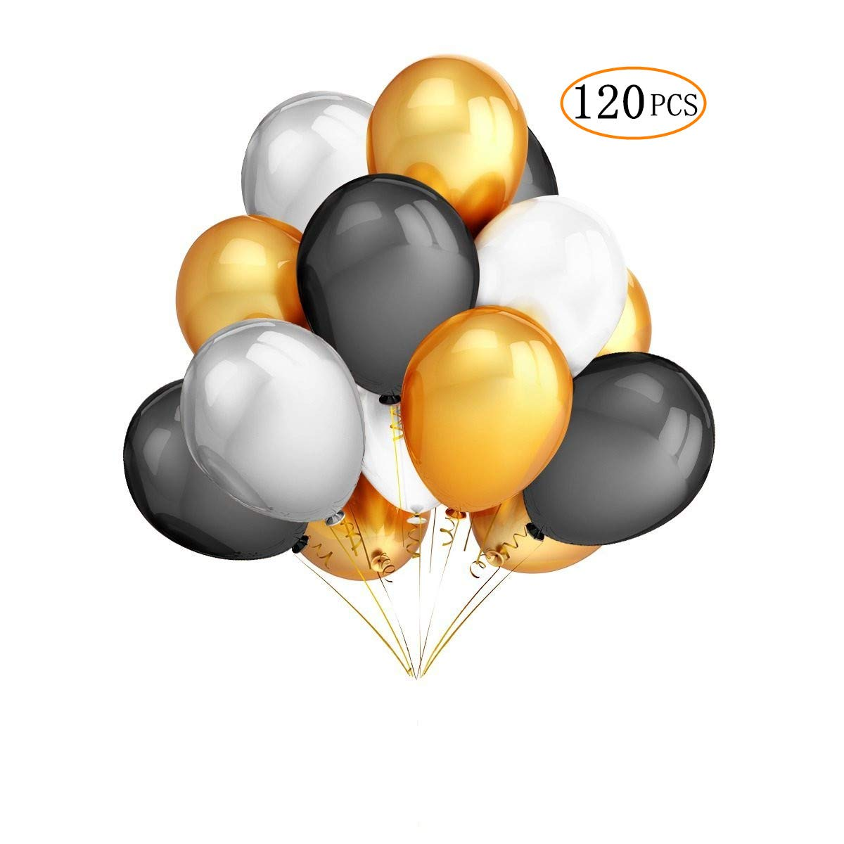 120 Pcs 12'' Gold Black White and Silver Round Latex Balloons for Graduation Baby Shower Wedding Birthday Bachelorette Party Decorations Supplies