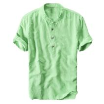 Makkrom Mens Linen Cotton Henley Neck Shirts Casual Loose Summer Beach Solid T Shirts