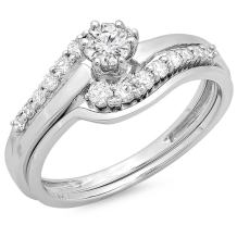Dazzlingrock Collection 0.55 Carat (ctw) 14K Gold Round Diamond Ladies Twisted Style Bridal Engagement Ring with Band Set 1/2 CT