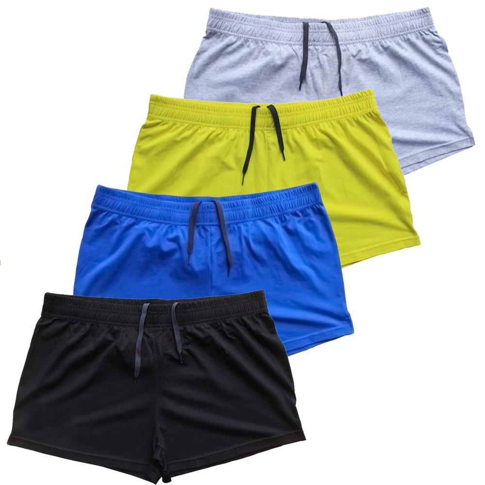 palglg Mens Bodybuilding Shorts 3 Inch Inseam Drawstring Closure Cotton