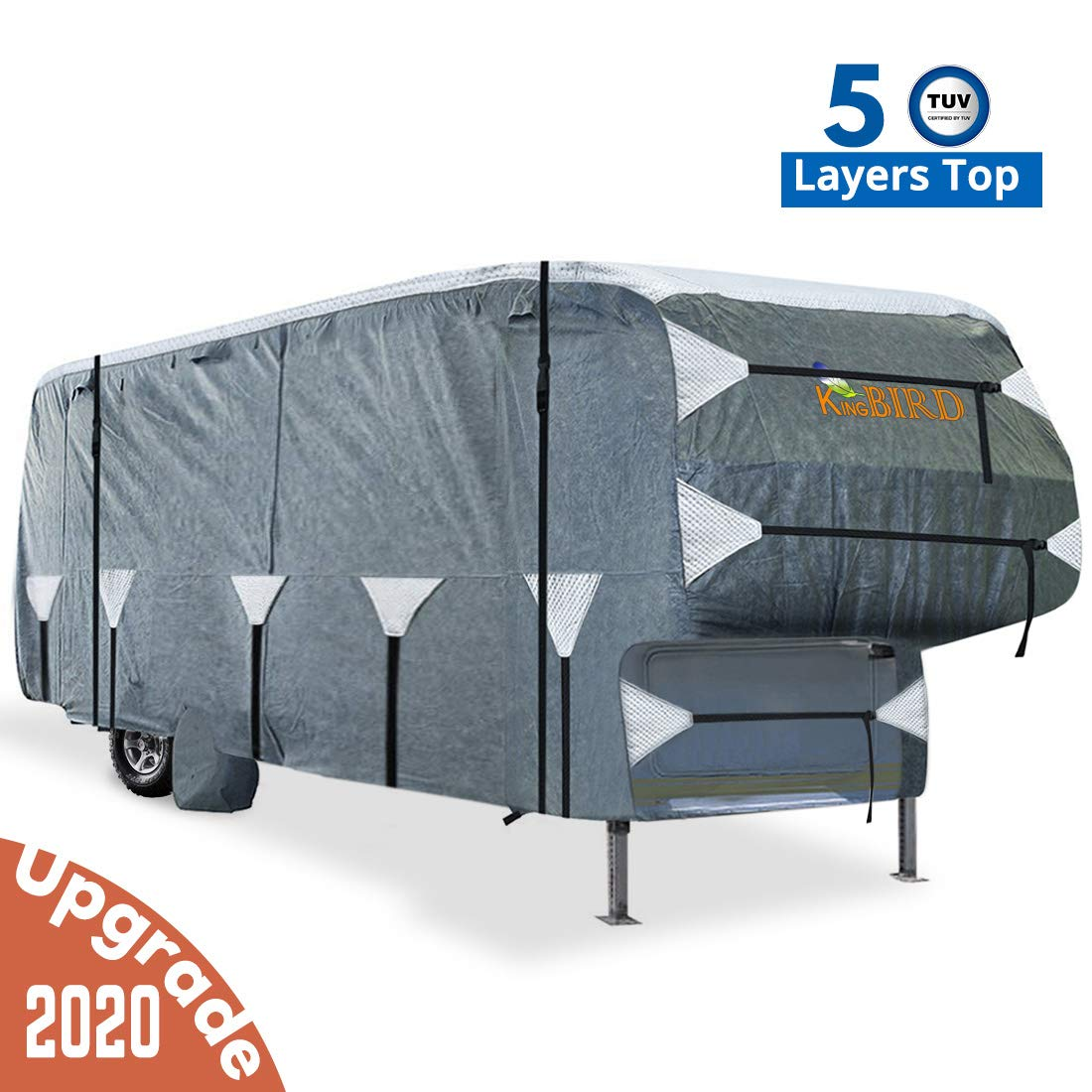 KING BIRD Extra-Thick 5-Ply Top Panel & 4Pcs Tire Covers Deluxe 5th Wheel RV Cover, Fits 37'-41' RV Cover -Breathable Water-Repellent Rip-Stop Anti-UV with Storage Bag (37'-41')