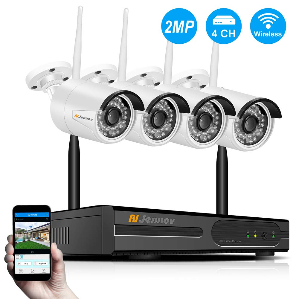 Jennov Wireless Home Surveillance Kit HD 1080P WiFi Security IP Camera System 4CH NVR and 4pcs IP Outdoor Indoor Cameras Night Vision,Remote Viewing IP66 Waterproof,Motion Detection