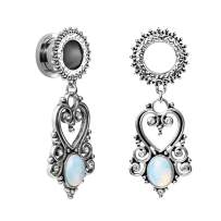 TBOSEN Stainless Steel Teardrop Opal Wedding Earrings Large Dangle Bridal Plug Ear Gauges Stretching Tapers Screw Fit Tunnels Gauge 2g - 1-3/16 inch