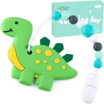 Tinabless Teething Toys BPA Free Silicone Dinosaur Teething Pain Relief Toy with Pacifier Clip Holder Set for Infants and Toddlers, Teethers Toy for Freezer (Green)