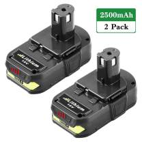 2.5Ah Replacement for Ryobi 18V Battery Lithium P102 P103 P104 P105 P107 P108 P109 P190 P191 P122 for 18V ONE+ Cordless Power Tools - 2 Pack