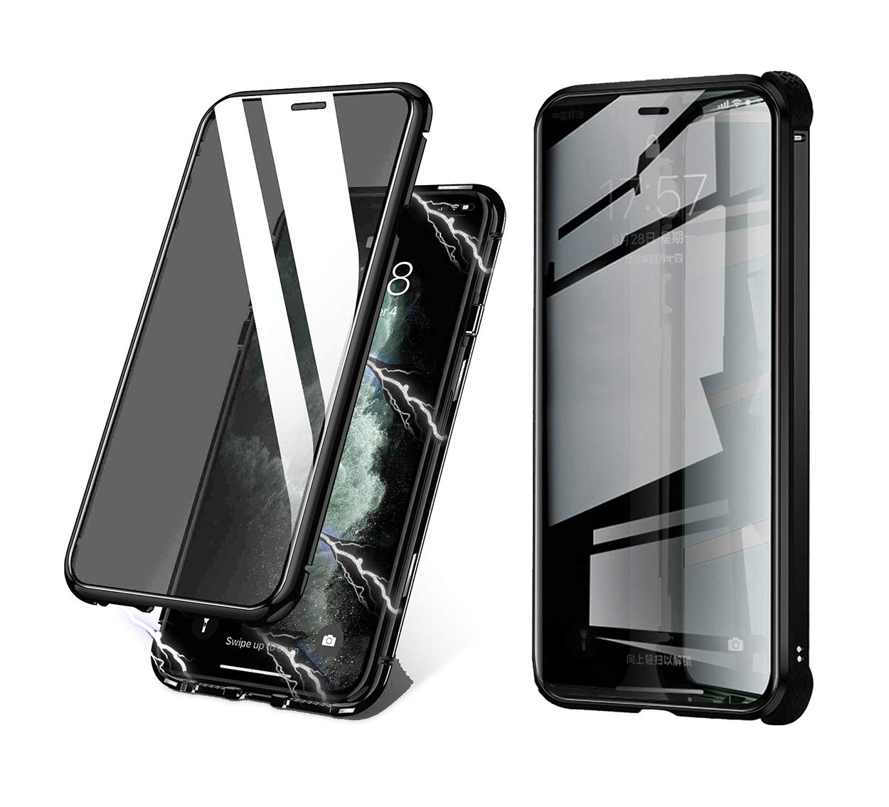 BVCY Magnetic Adsorption Case for iPhone 11 with Built-in Anti-Spy Privacy Screen Protector Anti-Peeping Case (6.1 inch 2019) (Black)
