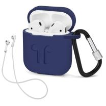 LIKDAY AirPods Case with Strap Protective Silicone Cover with Carabiner for Airpods Accessories ( Midnight Blue )