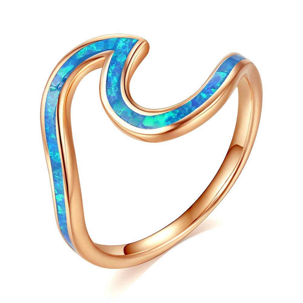 Blue Ocean Wave Band Ring Sterling Silver 925 Rose Gold Plated Synthetic Opal for Women Girls Size 5-10