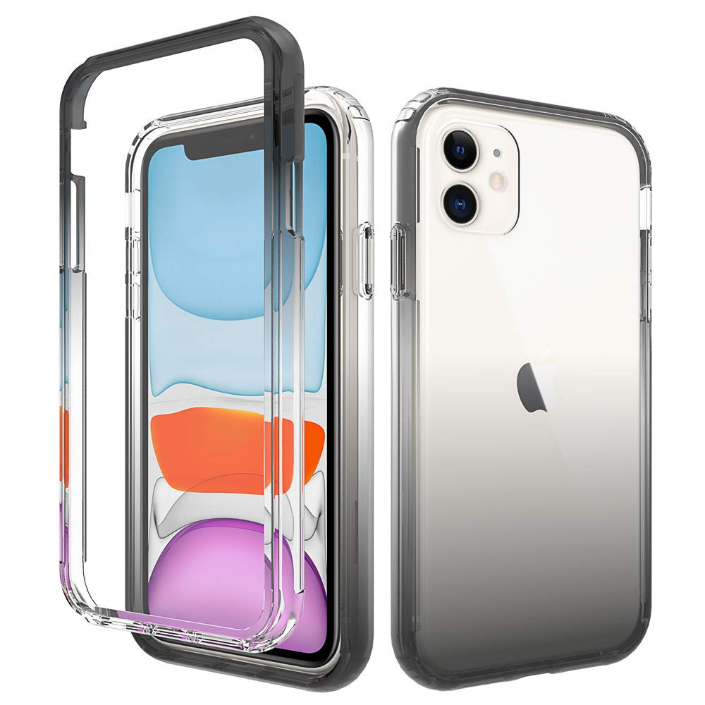 HUIYCUU Compatible with iPhone 11 Case,Shockproof Drop Protection Anti-Slip Cute Gradient Color Crystal Clear Design Hybird Slim Fit Soft Bumper + Hard Back Cover Case for iPhone 11, Gray Black