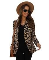 Hirate Women Leopard Print Blazer Casual Business Suit Coat Open Front Long Sleeve Jacket Outwear Slim Fit