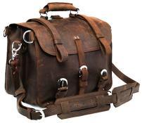 Polare Men's Top Quality Full Grain Leather 16'' Briefcase Shoulder Messenger Bag Fit 15.6'' Laptop