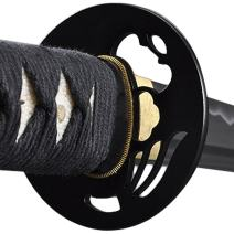 Handmade Sword - Samurai Katana Sword, Functional, Hand Forged, 1045 Carbon Steel, Heat Tempered, Full Tang, Sharp, Japanese Warrior Tsuba, Bendable Blade, Black Wooden Scabbard, Sword Certificate