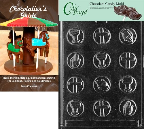 Cybrtrayd Communion Mints Chocolate Candy Mold with Chocolatier's Guide